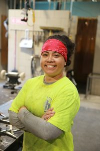 Female sheet metal apprentice finds home in the shop, at work